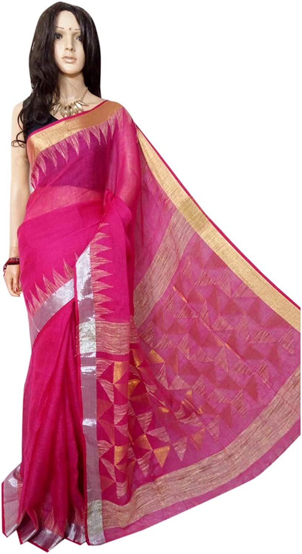 Indian Ethnic Pure Linen Jamdani Sari Ethnic Handwoven Women saree Festive offer 100A