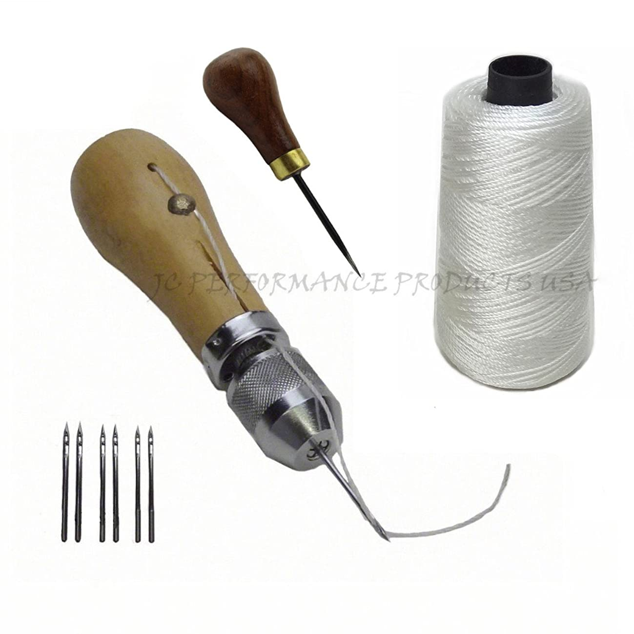 JC Performance Leather Sewing Awl Quick Stitch Repair Tool Set Heavy Duty Thread (With Awl, White)