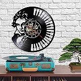 Reloj de Pared de Vinilo con Teclado de Piano Arte Retro sinfonía clásica Regalo de grabación para Colgar en la Pared para Amantes de la música