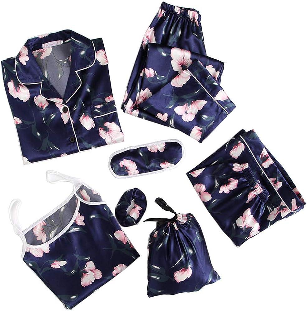 Kawaii Women Pajamas Set Satin Silk Mail order cheap Sets 7 Pink Pieces Max 51% OFF Sleeping