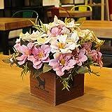 LLPXCC Flores artificiales Creativo casa floral mesa de comedor salón moderno sencillo unión flores decorativas de madera jarrones plantas flores de plástico matrimonio estudio rosa