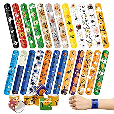 Kidtion 44 PCS Halloween Slap Bracelets Bulk, Halloween Decorations, 25 Styles for Halloween Party Favors Classroom Gifts, Colorful Gifts for Kids/ Adults/Girls/Boys 1.2 x 9 Inch