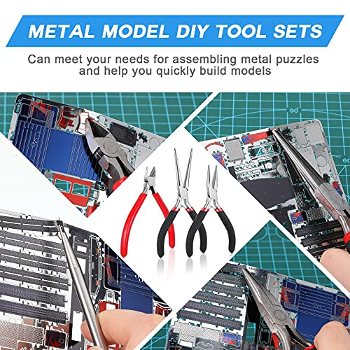 10 Pieces Metal DIY Model Tool SetsIncluding Tab Edge Cylinder Cone Shape Bending Assist Tools Needle Nose Pliers Pointed Nose Pliers Diagonal Pliers Tool Kits for3D Metal Jigsaw Puzzles Assembly