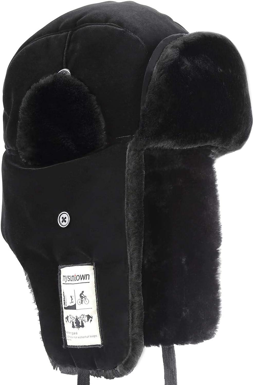 Mysuntown Trooper Winter Hat Ushanka Skiing Hunting Hat Unisex Style with Warm Ear Flap Fur Winderproof Hat
