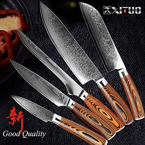 1 stuks Damascus keukenmes Japanse VG10 High Carbon Stainless Steel Professional koksmes uitbenen Snijdende Utility Cleaver (Color : A 5 PCS Value Set)