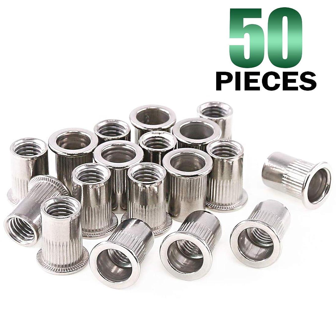 Keadic 50Pcs 304 Stainless Steel Metric Rivet Nut Flat Head Threaded Insert Nutsert Kit - M10