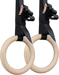 WINOMO Pair of Gymnastic Rings Wooden Fitness Rings with Straps for Workouts Yoga(28mm)
