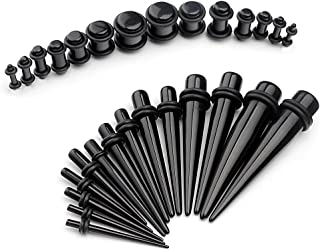 12G-00G Ear Gauges Stretching Kit Tapers & Plugs Expanders Set UV Acrylic 28pcs