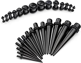vcmart 12G-00G Ear Gauges Stretching Kit Tapers & Plugs Expanders Set UV Acrylic 28pcs