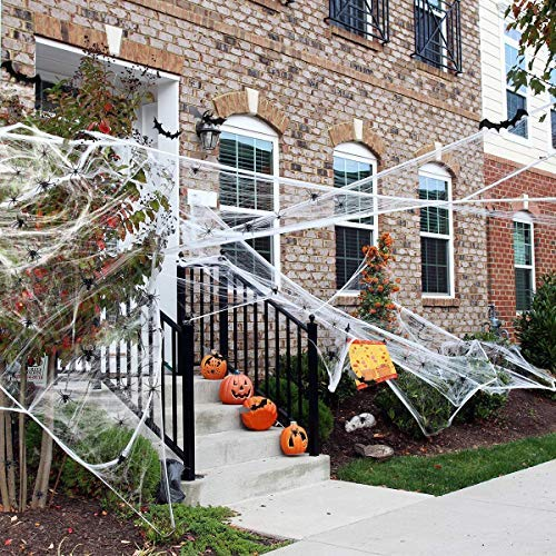 Ptsaying 100g Halloween Spider Web decoration, Stretchable halloween Cobwebs halloween Decorations with 30pcs Plastic fake Spiders for Haunted House decoration indoor outdoor Decor Scary Scence Party