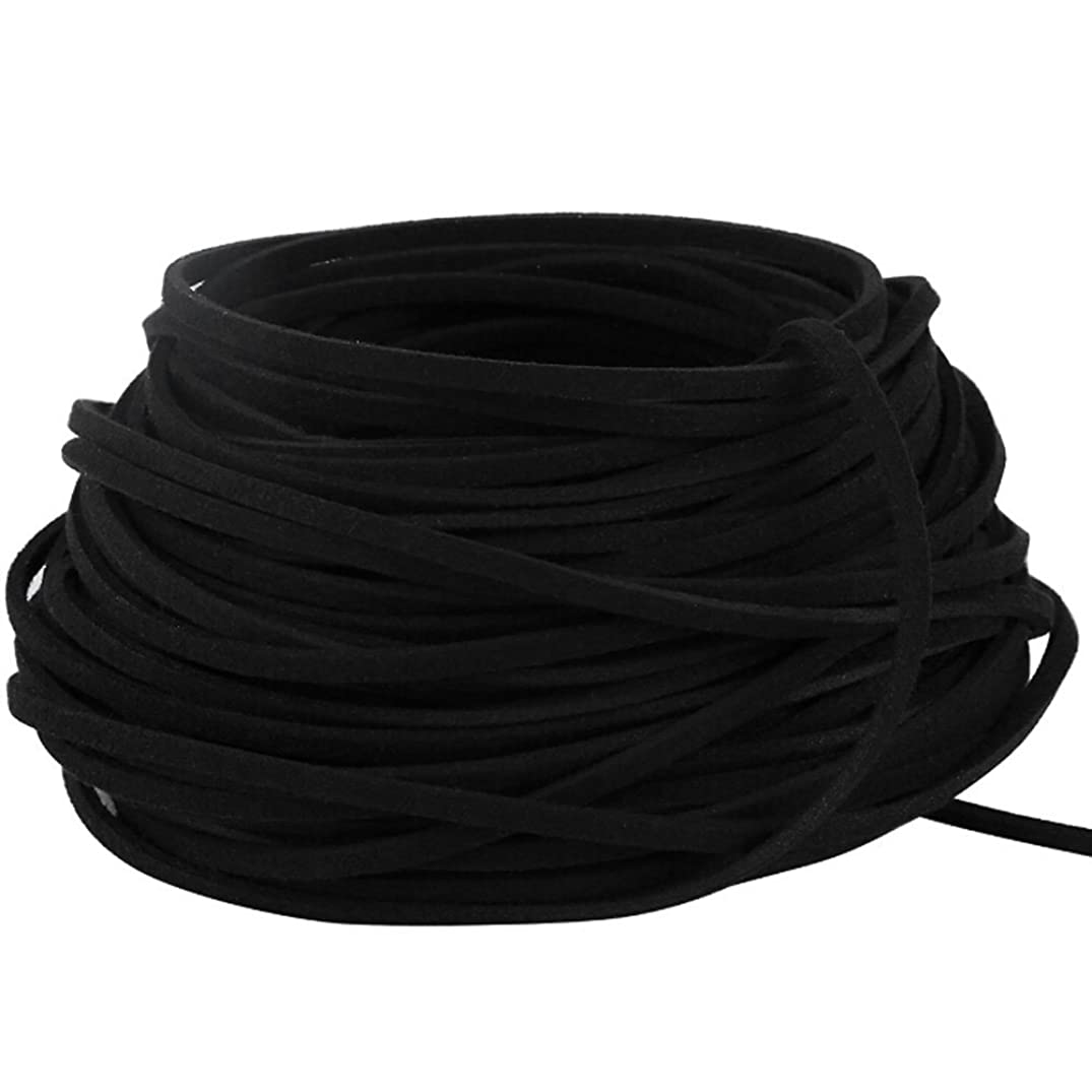 BeadsTreasure Black Suede Cord Lace Leather Cord For Jewelry Making 3x1.5 mm-20 Feet.