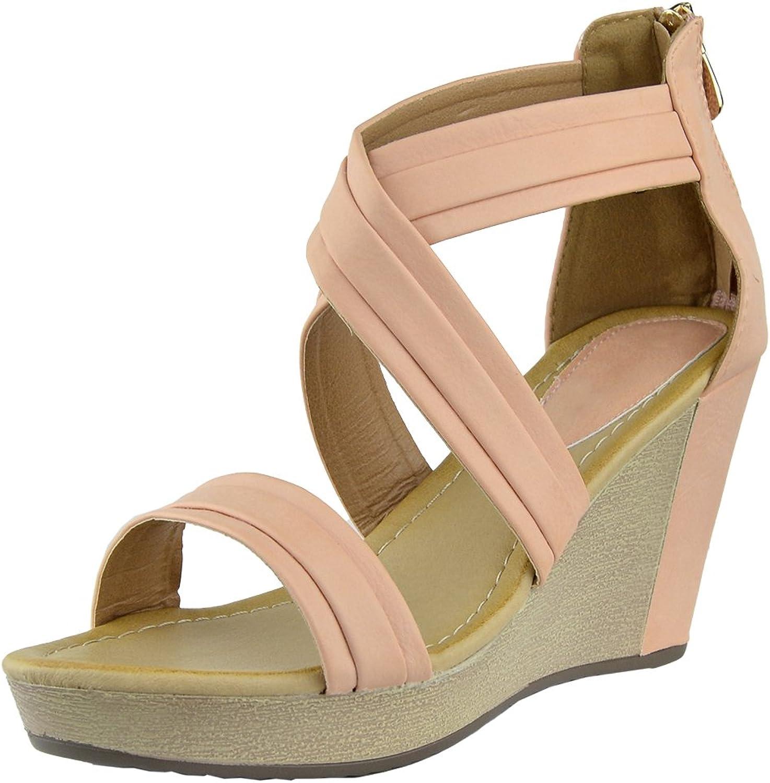 KSC Womens Platform Sandals Cross Strap Two Tone High Wedge shoes orange