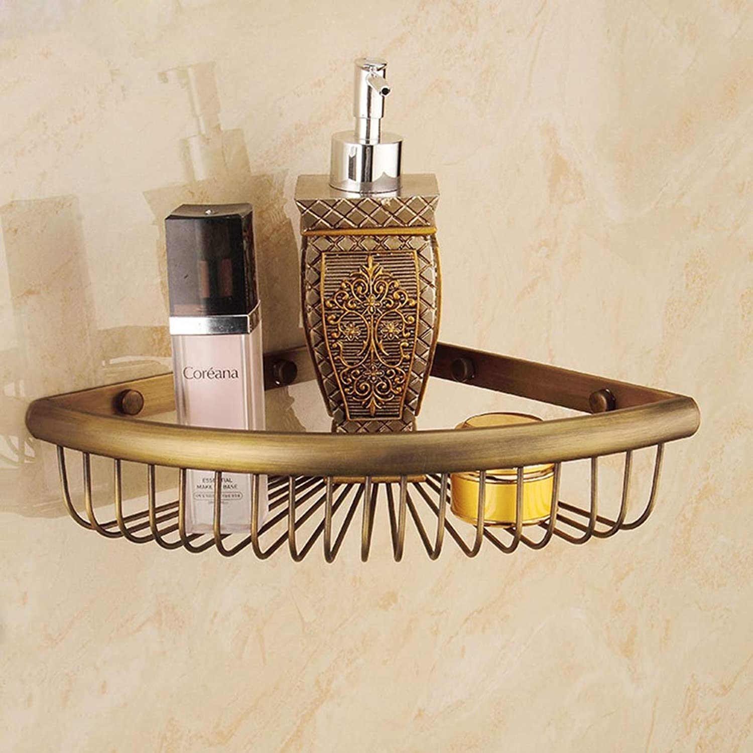 LUDSUY All Copper and gold Antique Double Tripod Corner Shelf Bathroom Shelf Double Triangle Hanging Basket, B