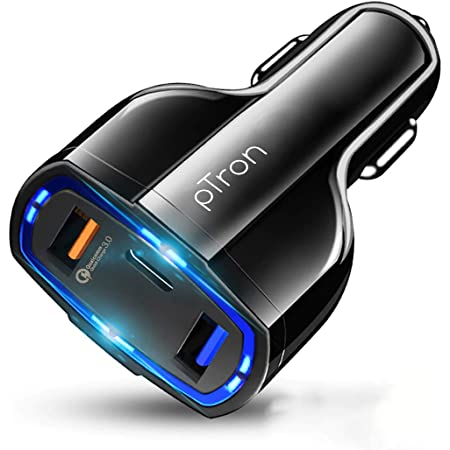 pTron Bullet Pro 36W PD Quick Charger, 3 Port Fast Car Charger Adapter - Compatible with All Smartphones & Tablets (Black)
