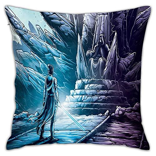 Gypsophila Fundas de almohada con impresión 3D, diseño de Star Wars The Rise of Skywalker, fundas de cojín cuadradas decorativas para sofá, decoración del hogar, 45 x 45 cm
