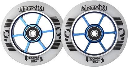 GRAVITI One Pair 100mm Pro Stunt Scooter Wheels with ABEC-9 Bearings CNC Metal Core (2pcs)