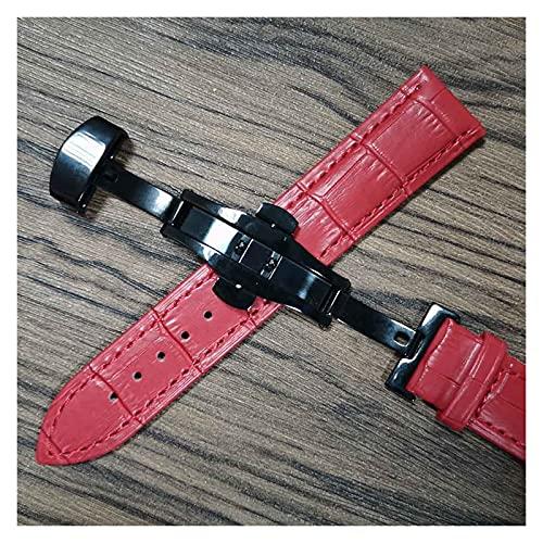 LIANYG Correa De Reloj Cintas de Reloj de Cuero 14mm 16mm 18 mm 19 mm 20 mm 21mm 22mm 24mm Reloj de Reloj Suave Lata de Correa 493 (Band Color : Red Black, Band Width : 16mm)