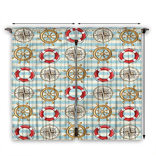 June Gissing Nautical Curtains for bedroo Life Buoy Helm Compass.jpg Living, Dining Room, Bedroom Curtains W63 x L72