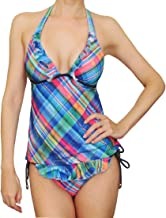 GUESS 2 Piece Tankini Set - Plaid Ruffle Open Apron Tie Back Swimsuit Denim Accented Top & Ruffled Bottom Small