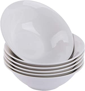 Cutiset 21 Ounce Porcelain Cereal/Salad/Desserts Bowls, Set of 6, White (7-Inch/ 21 Ounce, Round)