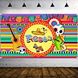 WATINC Mexican Fiesta Backdrop Banner Cinco de Mayo Background Extra Large with Hat Cactus Guitar Southwest Decor for Indoor Outdoor Yard Decorations May 5 Celebration Photo Booth Props 79.2 x 44.4 In