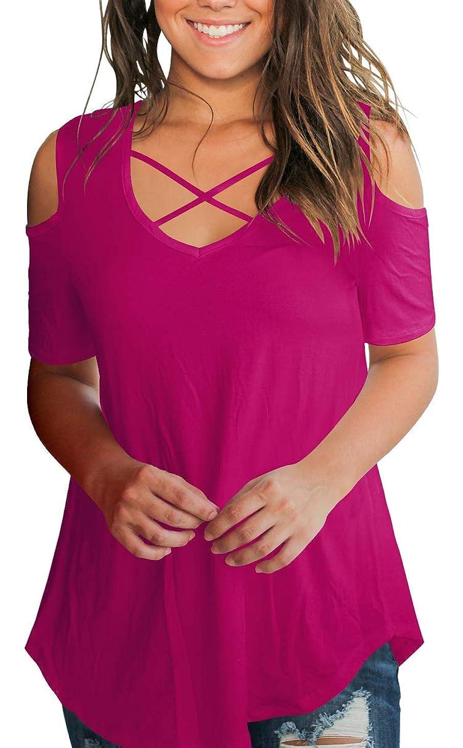 SMALNNIE Women's Criss Cross Cold Shoulder V Neck Short Sleeve Summer T Shirts