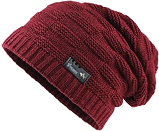 Men Women Winter Trendy Warm Oversized Chunky Baggy Stretchy Slouchy Skully Hat Winter Toboggan Hats for Cold
