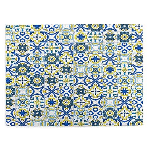 500 piezas puzzle navidad como portugués azulejos 52*38 cm rompecabezas de madera para adultos