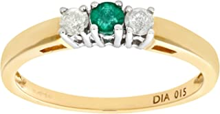 Naava 女式 9 克拉黄金 0.15 克拉圆形切割钻石祖母绿四爪镶嵌三石戒指