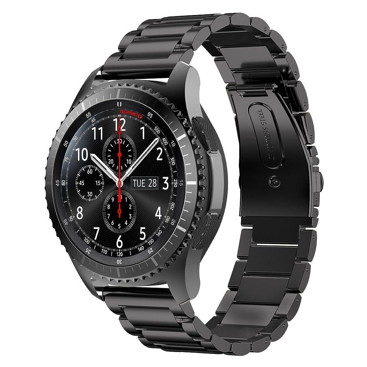 尊敬する休暇月曜EloBeth Samsung Gear S3 Frontier Classic/Pebble time 2 ステンレスバンド Watchバンド 22mmベルド 腕時計バンド for Gear S3 Frontier Classic/Pebble time 2/Galaxy Watch 46mm (ステンレス 黒い)