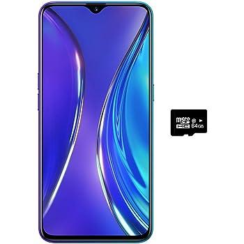 Realme XT (128 GB, 8 GB RAM) 6.25 pulgadas, AMOLED, 64 MP, cámara cuádruple Snapdragon 712, Dual SIM GSM desbloqueado, US + Global 4G LTE modelo internacional - RMX1921, 128GB + 64GB SD + Case Bundle, Azul Perlado