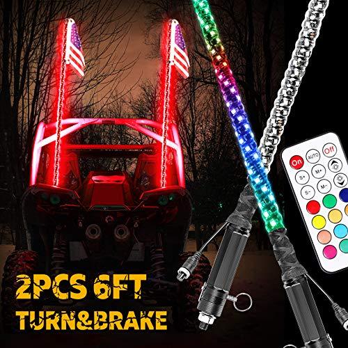 Niwaker 2PCS 6ft LED Whip Lights w/Turn Signal & Brake Light & Reverse Light 360° Spiral LED Whips with Remote Control Antenna Lighted Whips for UTV ATV RZR Polaris Truck Buggy Bune