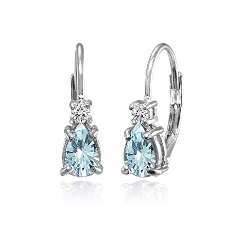 5de7a24d5 Sterling Silver Genuine, Created and Simulated Gemstone & White Topaz Tiny  Teardrop Huggie Leverback Earrings
