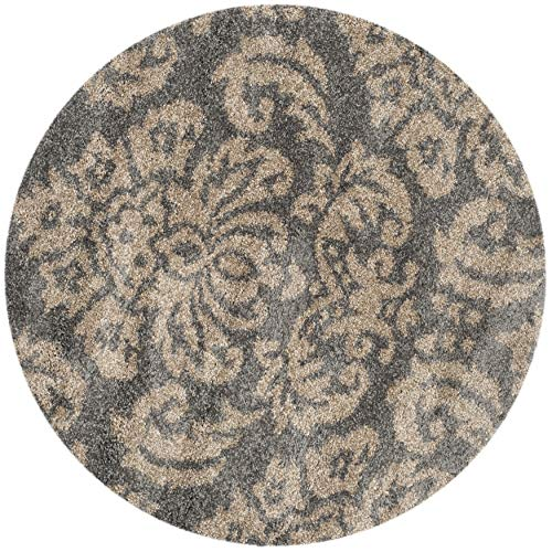 SAFAVIEH Florida Shag Collection SG460 Damask Non-Shedding Living Room Bedroom Dining Room Entryway Plush 1.2-inch Thick Area Rug, 4