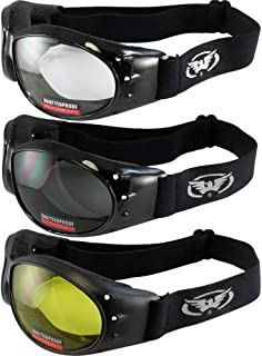 3 Red Baron Motorcycle Eliminator Padded Googles Airsoft Googles Clear Smoke Yellow Day and Night Riding Googles
