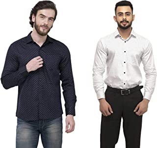 ZAKOD Polka Print Cotton Shirts for Men for Casual Use,Normal Wear Shirts,Available Sizes M=38,L=40,XL=42(Combo of 2)