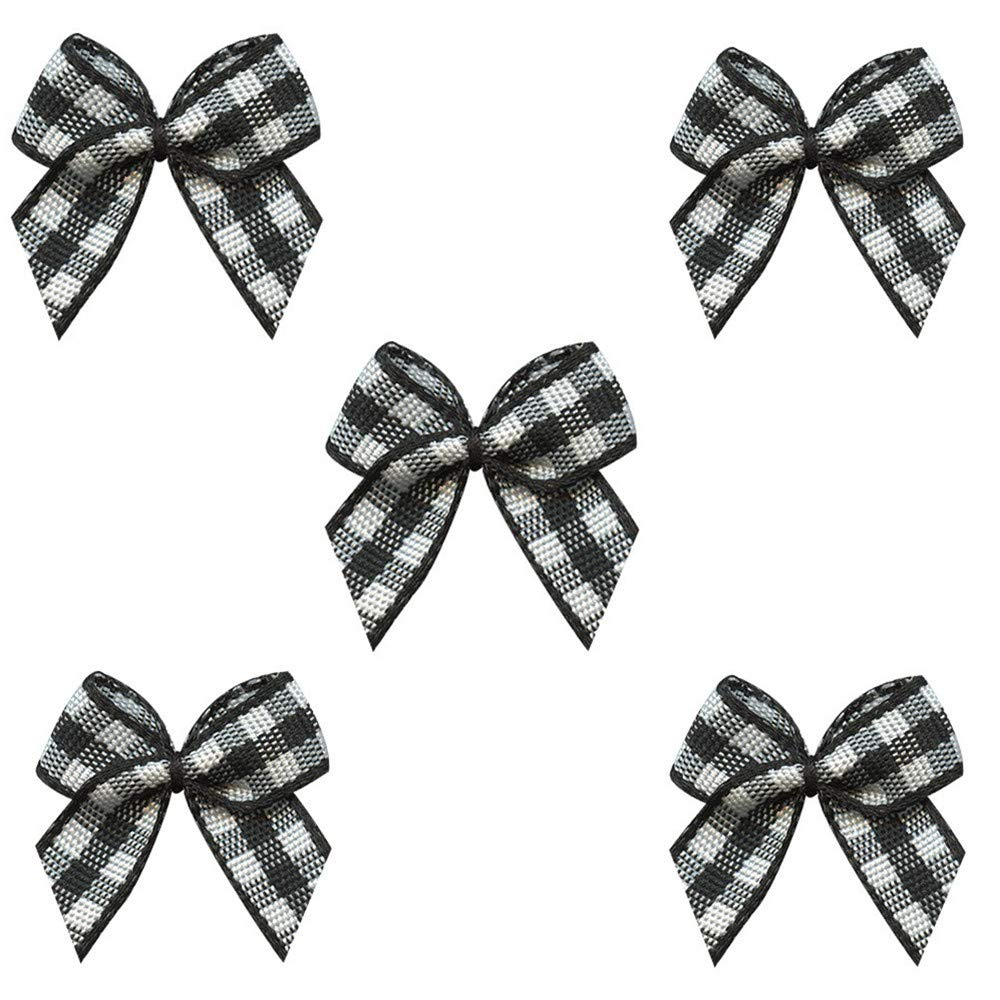 Wedding VIVIQUEN 50pcs Mini Gingham Ribbon Bows Checkered Ribbon Flowers Plaid Ribbon Bow Appliques DIY Craft for Sewing Gift Scrapbooking Gingham-Special Black