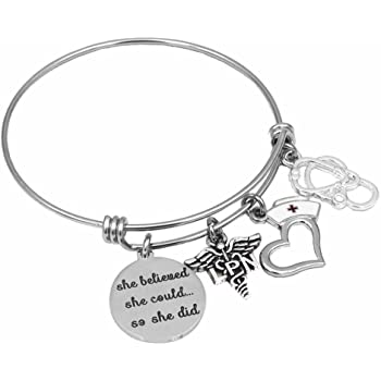 Pink Box Inspirational Charm Bangles Gold She Believed She Could