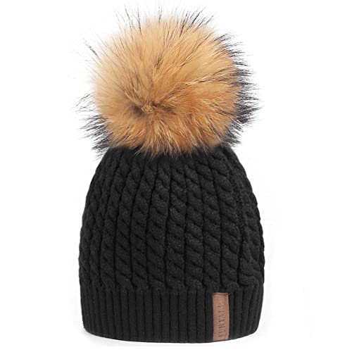 a1ed79005fe Winter Beanie Hats for Women FURTALK Womens Warm Knit Fur Bobble Pom Pom Hat