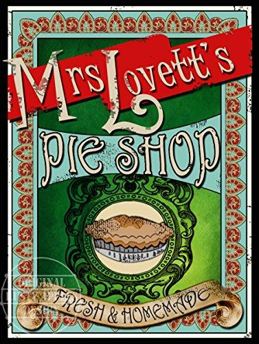 La plaque métallique Mrs Lovett's Pie Shop de Sweeney Todd