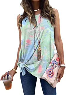 Zimaes Womens Tie-Dye Crew Neck Lounge Plus-size Summer Knot Cami Vest