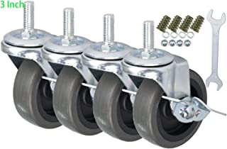 DICASAL Stem Casters Heavy Duty and Highly-Elastic TPR Wheels Mute Castors with Side Brakes Pack of 4 (3 Inch)