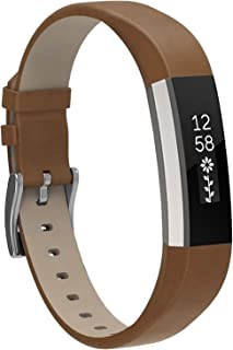 Henoda Replacemnt Leather Bands Compatible with Fitbit Alta/Fitbit Alta HR, Classic Genuine Leather Wristband, Small Large, No Tracker