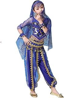 Magogo Trajes de Danza del Vientre para niñas Conjunto de 5 Piezas Vestido de Carnaval Niños Bollywood Traje de actuación árabe Indio