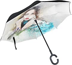Double Layer Inverted Woman Art Abstract Lying Down Vintage Girl Beauty Umbrellas Reverse Folding Umbrella Windproof Uv Protection Big Straight Umbrella For Car Rain Outdoor With C-shaped Handle