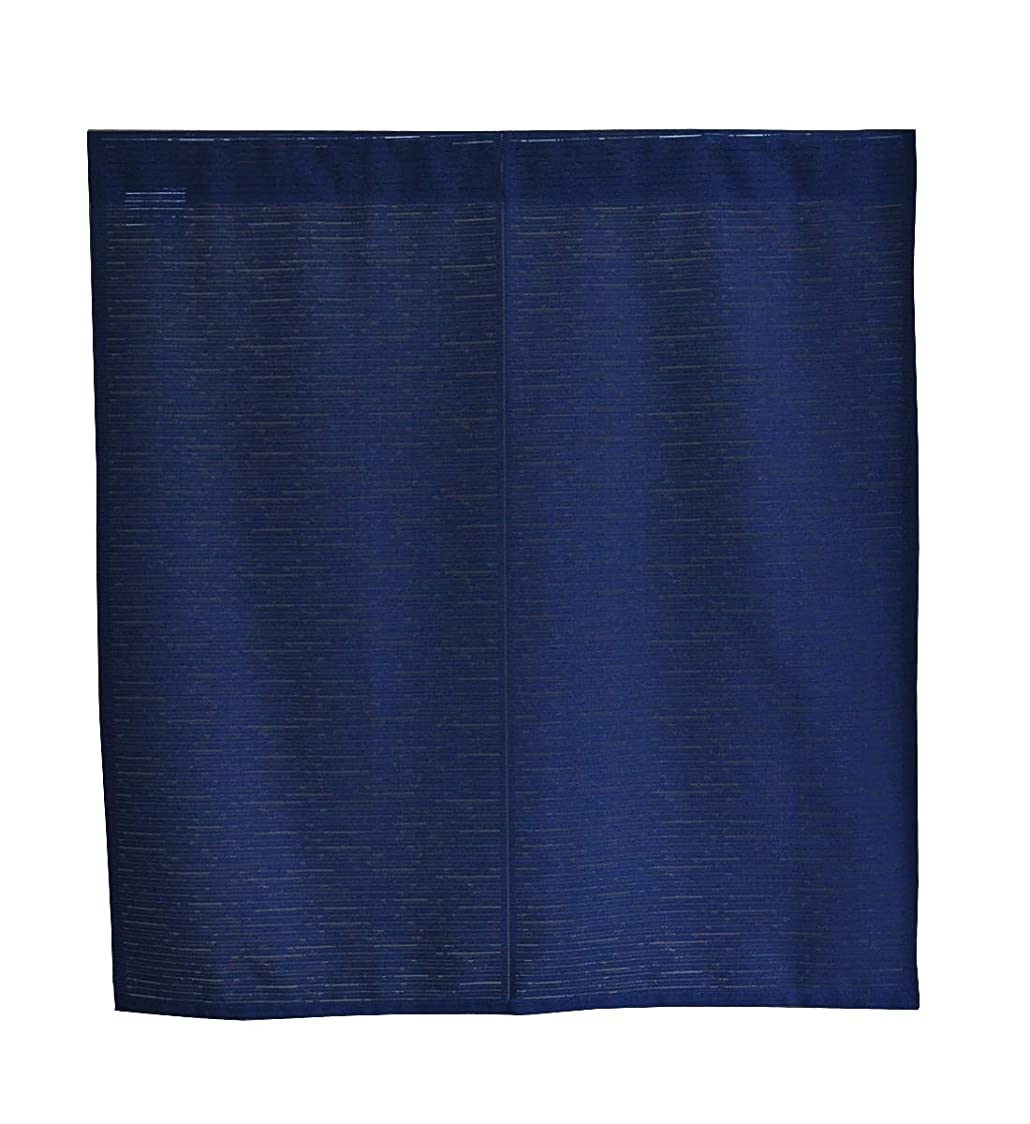 軽減するアーティファクト賞日本製 シンプルレースの防炎のれん (85㎝巾×90㎝丈, ネイビー)
