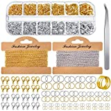 Jewelry Making Chains 49.2 Feet Stainless Steel Link Chains 1000 Pieces Jump Rings 40 Pieces Lobster Clasps with Curved Tweezers and Brass Jump Ring Opener for Women Men DIY Jewelry (Gold, Silver)