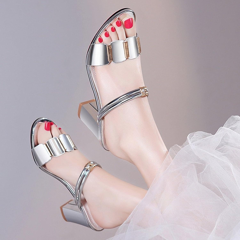 High Heels High Heels sandals Women shoes Heel Heels Ladies sandals (color   Silver, Size   36)