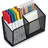 pen holder for refrigerator - Magnetic Pencil Holder - 2 Generous Compartments Extra Strong Magnets Mesh Marker Holder Perfect for Whiteboard, Refrigerator and Locker Accessories