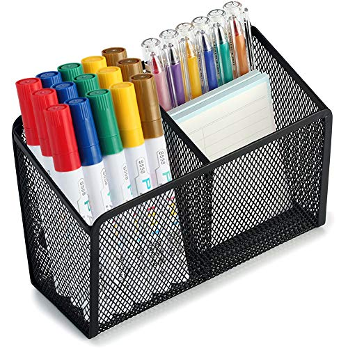 Magnetic Pencil Holder - 2 Generous Compartments Extra Strong Magnets Mesh Marker Holder Perfect for Whiteboard Refrigerator and Locker Accessories